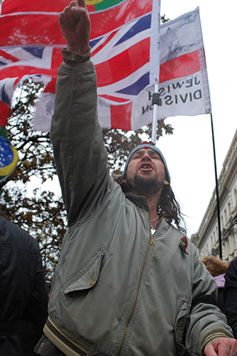 The EDL counterprotest an anti-war demonstration held by the Muslims Against Crusades, 11th November 2010