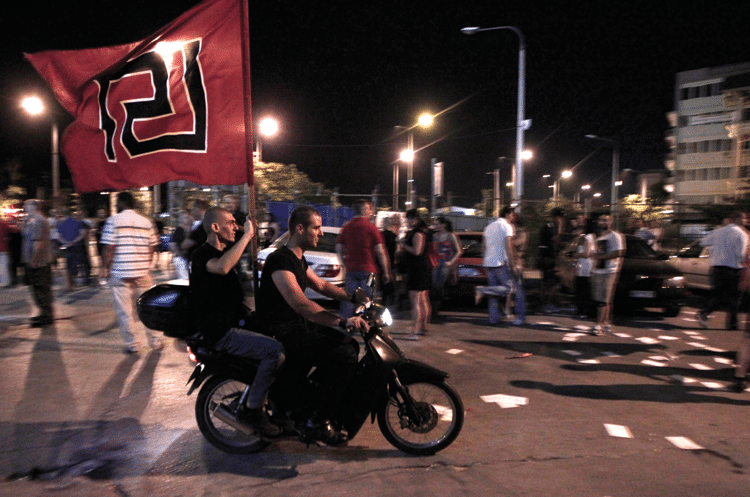 Supporters of the far right party of Golden Dawn celebrate the results of the 2012 elections. Photo: Dimitri Messinis/AP/Press Association Images