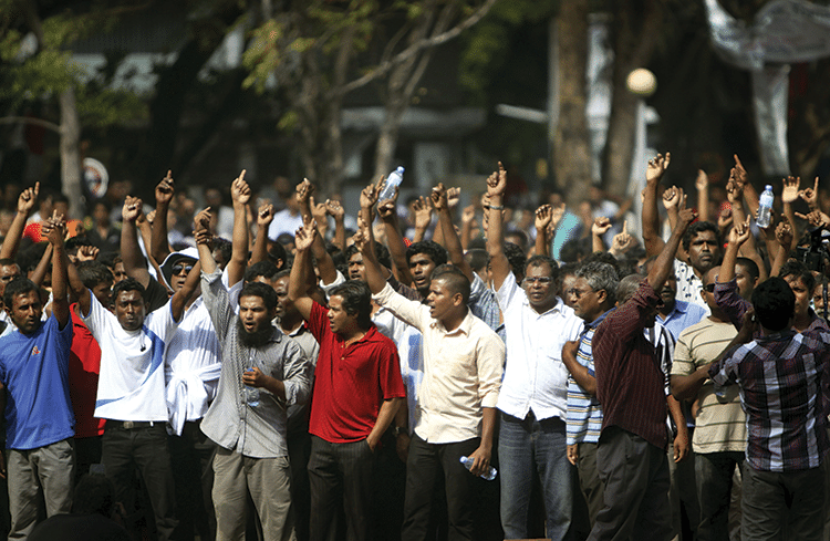 Opposition supporters stage a protest in Malé's Republican Square on 7th February 2012. Photo: Sinan Hussain/AP/Press Association Images
