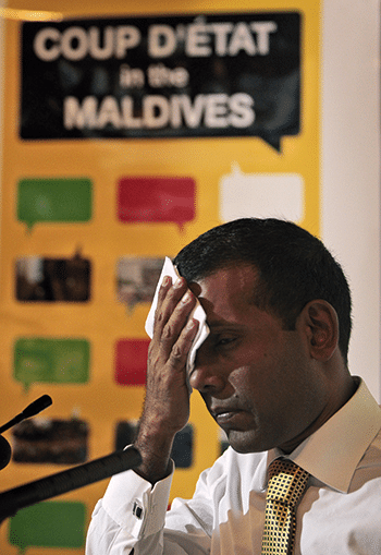 Nasheed speaks about the coup in New Delhi, April 2012. Photo: Mohamed Ali/AP/Press Association Images