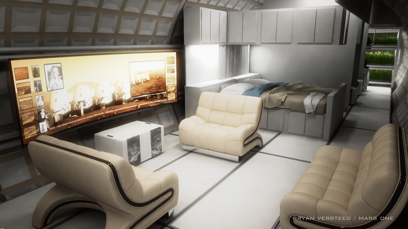 A concept drawing of the interior of Mars One's habitat units