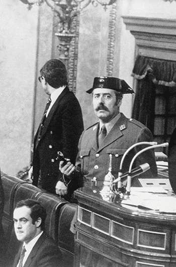 Antonio Tejero and 200 armed civil guards hold deputies hostage inside the lower house Photo: © Bettmann/Corbis