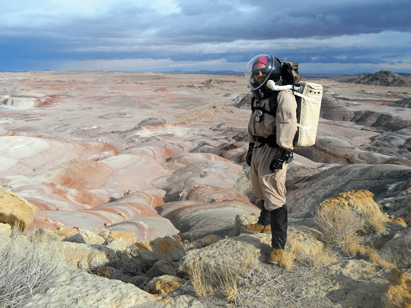 A researcher of the Mars Society's research station in the Utah desert. Photo courtesy of The Mars Society