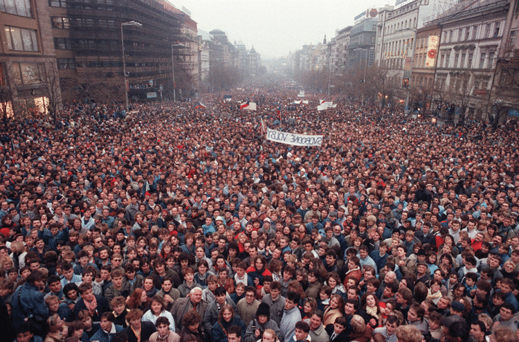 The Velvet Revolution: 200,000 people gather in Prague's Wenceslas Square in peaceful protest against communist rule in November 1989. Photo: Peter da Jong/AP/Press Association Images