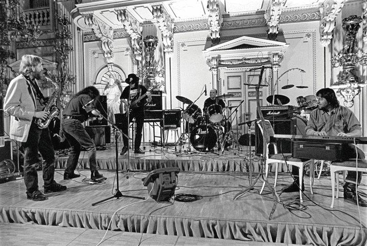 The Plastic People of the Universe play a gig in the Spanish Hall of Prague Castle in 1997 to commemorate the twentieth anniversary of Charter 77