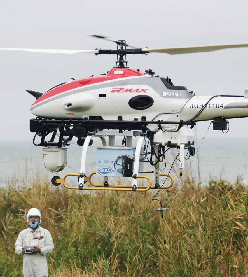 An unmanned helicopter used to survey radiation levels in the no-fly zone over the Fukushima Nuclear Power Station in Japan, October 2012. Photo: AP/Press Association Images