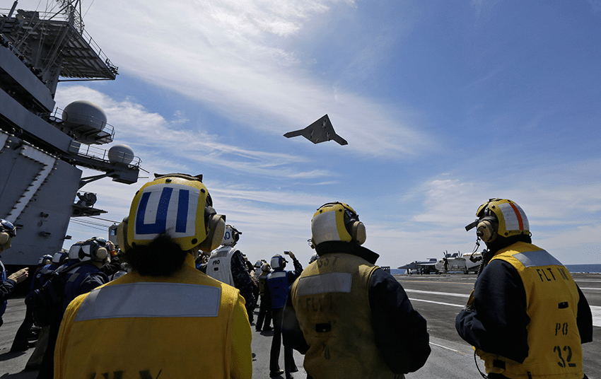 The US Navy's first drone to be launched from an aircraft carrier in May 2013. Photo: Steve Helber/AP/Press Association Images