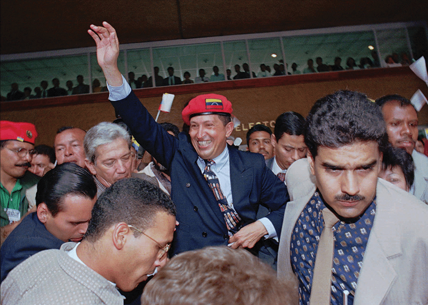 Hugo Chávez waves to the crowd after announcing his candidacy for the presidency of Venezuela in July 1997. Photo: Jose Caruci/AP/Press Association Images