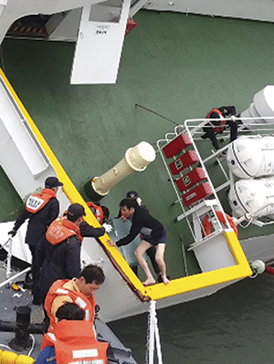 South Korean coast guard officers rescue MV Sewol's Captain Lee Joon-seok, wearing a sweater and underwear, from the sinking ferry. Photo: AP/Press Association Images