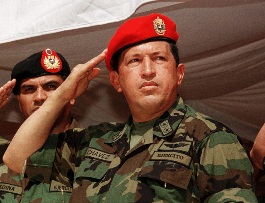 As president, Hugo Chavez receives honours in Guasdualito, Venezuela, in February 1999. Photo: Pedro Lara/AP/Press Association Images
