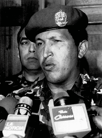 Chávez speaks to the press after his surrender and arrest in February 1992 Photo: Ali Gomez/AP/Press Association Images