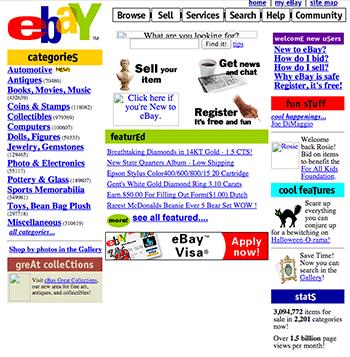 A screenshot of ebay.com taken in 1999