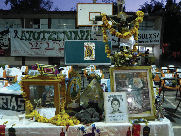 A shrine to the missing 43. Ayotzinapa, the college the students attended, has become a focus for anti=government sentiment. Photo: Témoris Grecko
