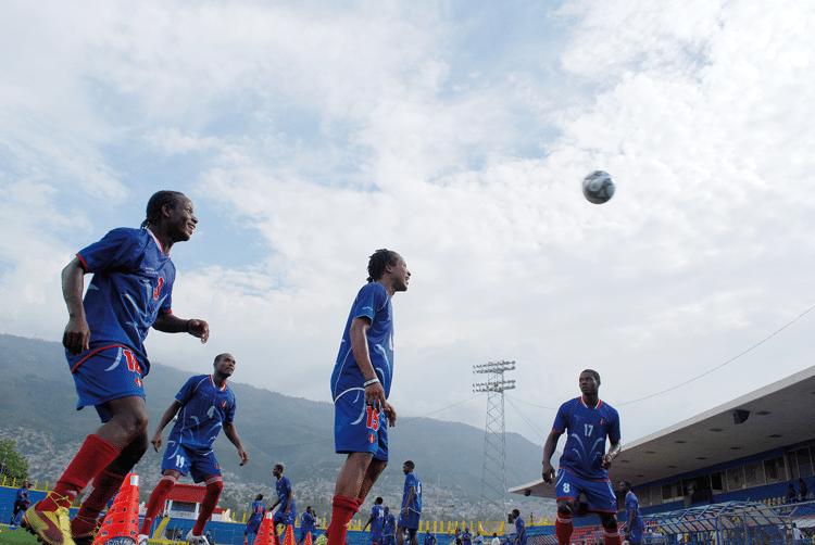 The Haiti football team train a day before their match against the US Virgin Islands. Photo: James Montague