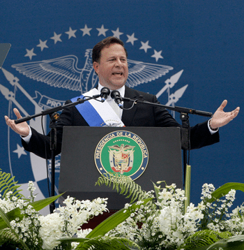Juan Carlos Varela delivers his inauguration speech. Photo: Arnulfo Franco/AP/Press Association Images