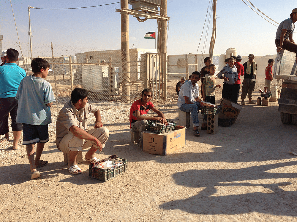 In 2012, shopping options in Zaatari amounted to a handful of people sitting with their goods by the side of the dusty roads. A year later, there were 2,500 shops including 680 large stores. Photo: Sakhr Al-Makhadhi