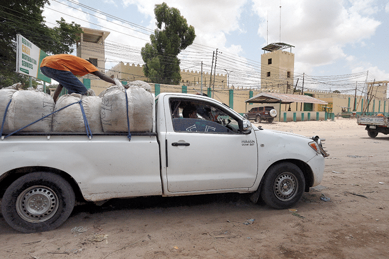 A truck carrying khat passes in front of Hargeisa prison, in which several female khat distributors have been incarcerated