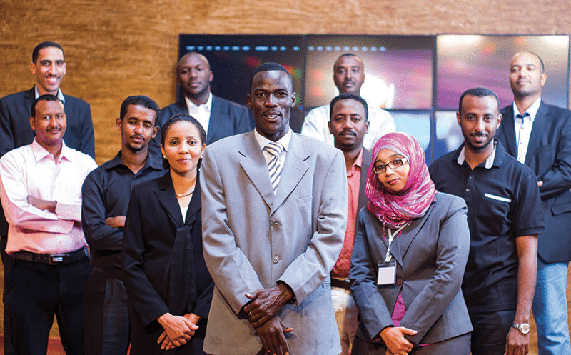 A group of the finalists of 'Mashrouy', Sudan's answer to  'The Apprentice', with winner Samah Al Gadi, third from right Photo: Susan Schulman