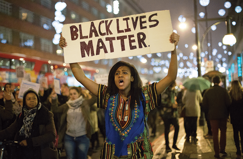 A protest in central London following the decision not to prosecute police officer Darren Wilson for the fatal shooting of black teenager Michael Brown in Ferguson, Missouri Photo: Daniel Leal-Olivas/PA Wire/Press Association Images