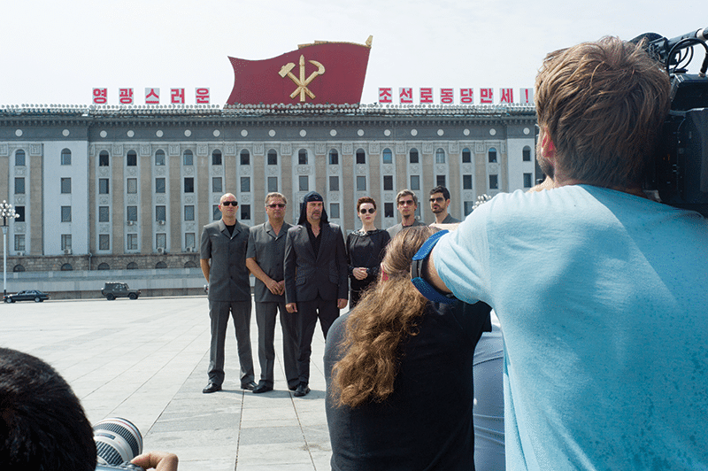 Members of Laibach pose in a square in central Pyongyang. Photo: Daniel Miller