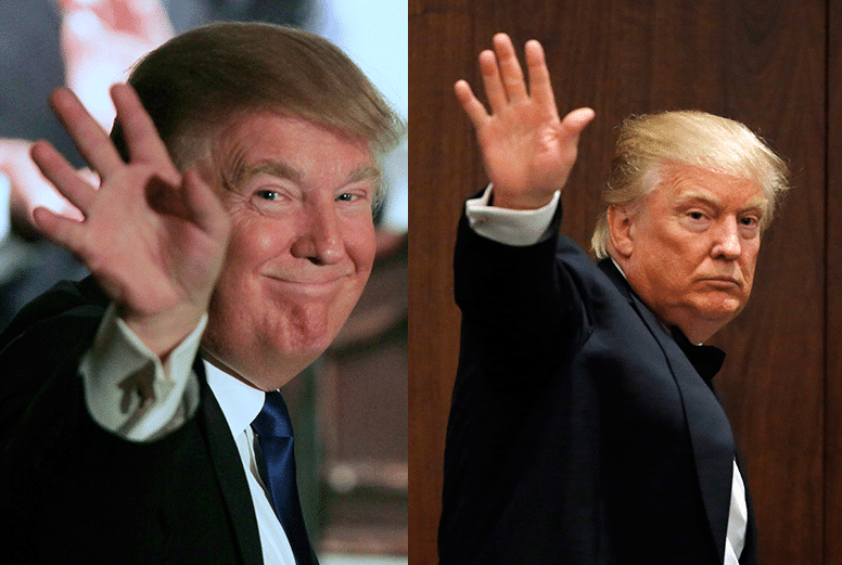 Trump in May 2011 and May 2016. Photos: Jim Cole/AP/Press Association Images, Kathy Willens/AP/Press Association Images