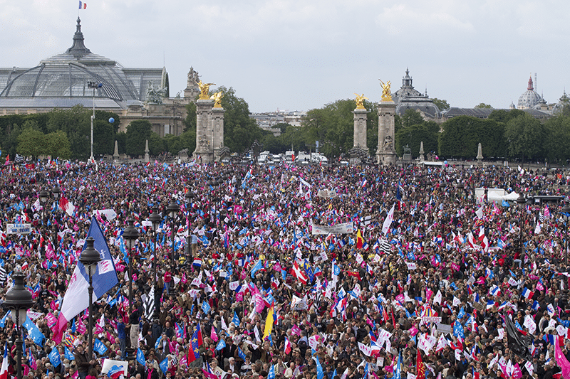 The French same-sex marriage bill sparked big protests against marriage equality. On 26th May 2013, police said 150,000 people marched against the law. Photo: Kalpana Kartik/Demotix/Press Association Images
