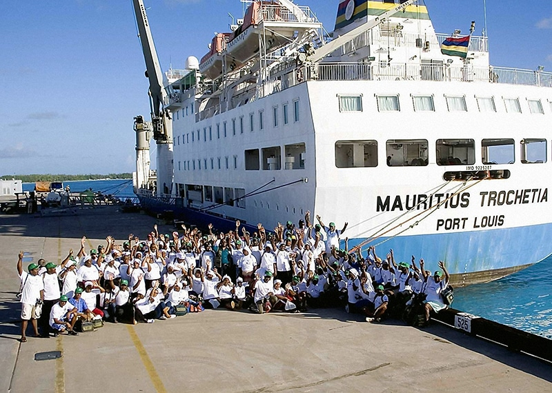 A group of Chagossians visit Diego Garcia in April 2006 on a trip organised jointly by the British and Mauritian governments. Photo: FCO / PA Archive/Press Association Images