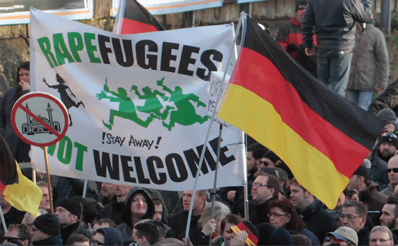 A rally staged by the Dresden-based anti-Islam Pegida movement in Cologne on 9th January saw its far-right followers clash with police officers and anti-racism activists: three days later a much bigger rally was staged in Dresden. Photo: Juergen Schwarz/AP/Press Association Images