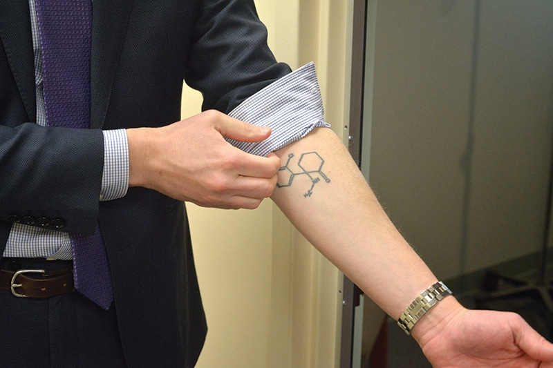 Dr Levine's ketamine tattoo. Photo: Robin Resch