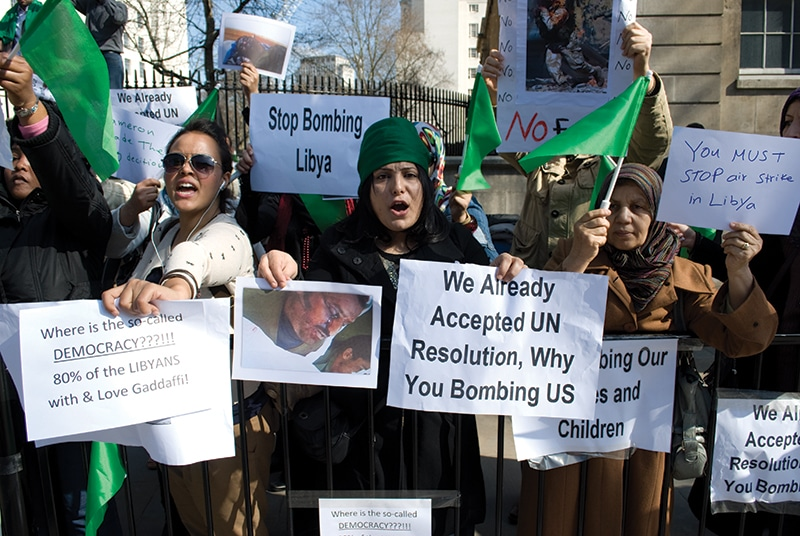 Choudary used the pro-Gaddafi demonstrations on 21st March 2011 as an opportunity to push his belief that Shariah law should govern the UK. Photo: James Montague