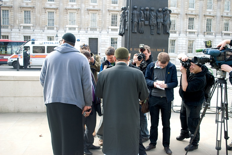 Choudary answers questions from the press. Photo: James Montague