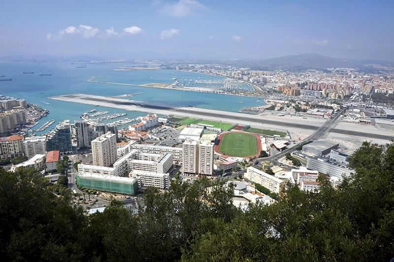 Gibraltar's runway and football pitches. Photo: Ben Birchall/PA Archive/Press Association Images