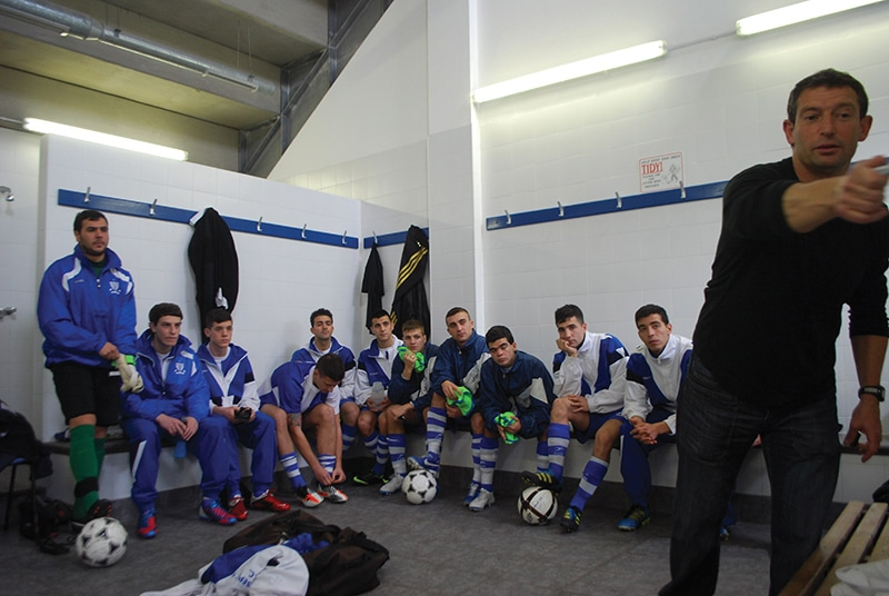 In the dressing St Joseph's dressing room, with Gibraltar international Jean Paul Duarte. Photo: James Montague