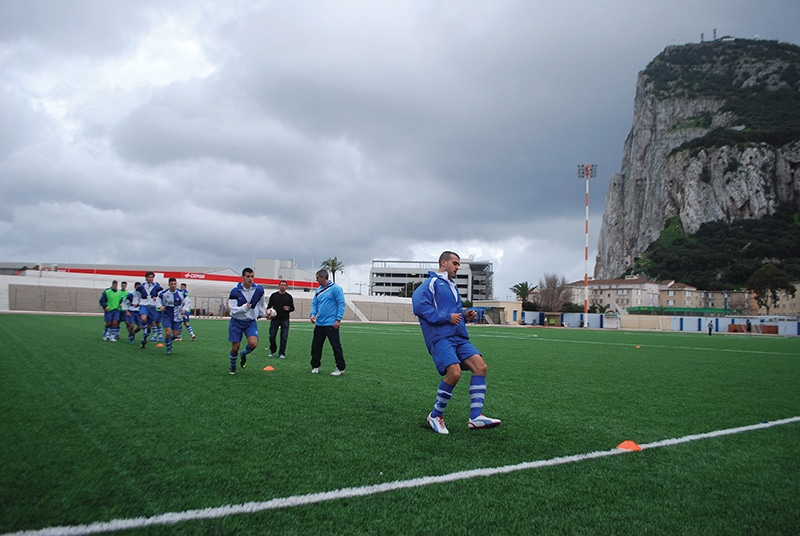 St Joseph training in the shadow of the Rock. According to FIFA the Victoria Stadium has been built on disputed land. Photo: James Montague