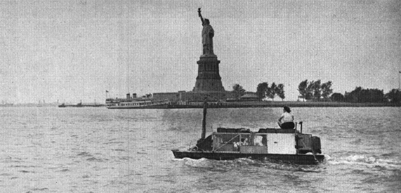 Ben Carlin's vehicle leaving New York Harbor in 1948