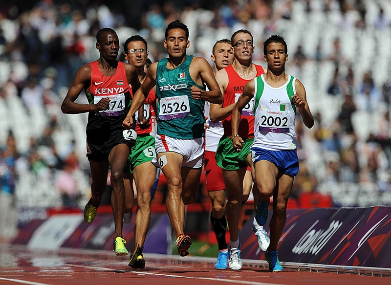 Abdellatif Baka (right) competing in the first round of the T13 men's 800m race, where he lost out to Kenya's David Korir (left). In the 1,500m T13 final, Baka won gold and set a better time than the winner of the Olympic 1,500m event. Photo:  EMPICS Sport/EMPICS Sport