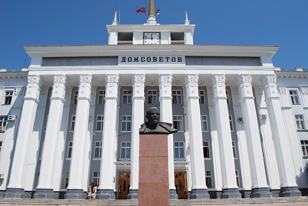 Lenin in front of the House of Soviets in Tiraspol, Transnistria