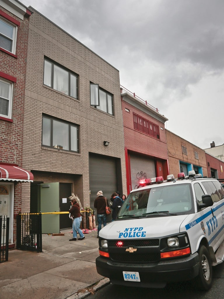 The Yellow Dogs house in Brooklyn on Tuesday 12th November, the morning after two members of the band were shot dead by Ali Akbar Mahammadi Rafie. Photo: Bebeto Matthews/AP/Press Association Images