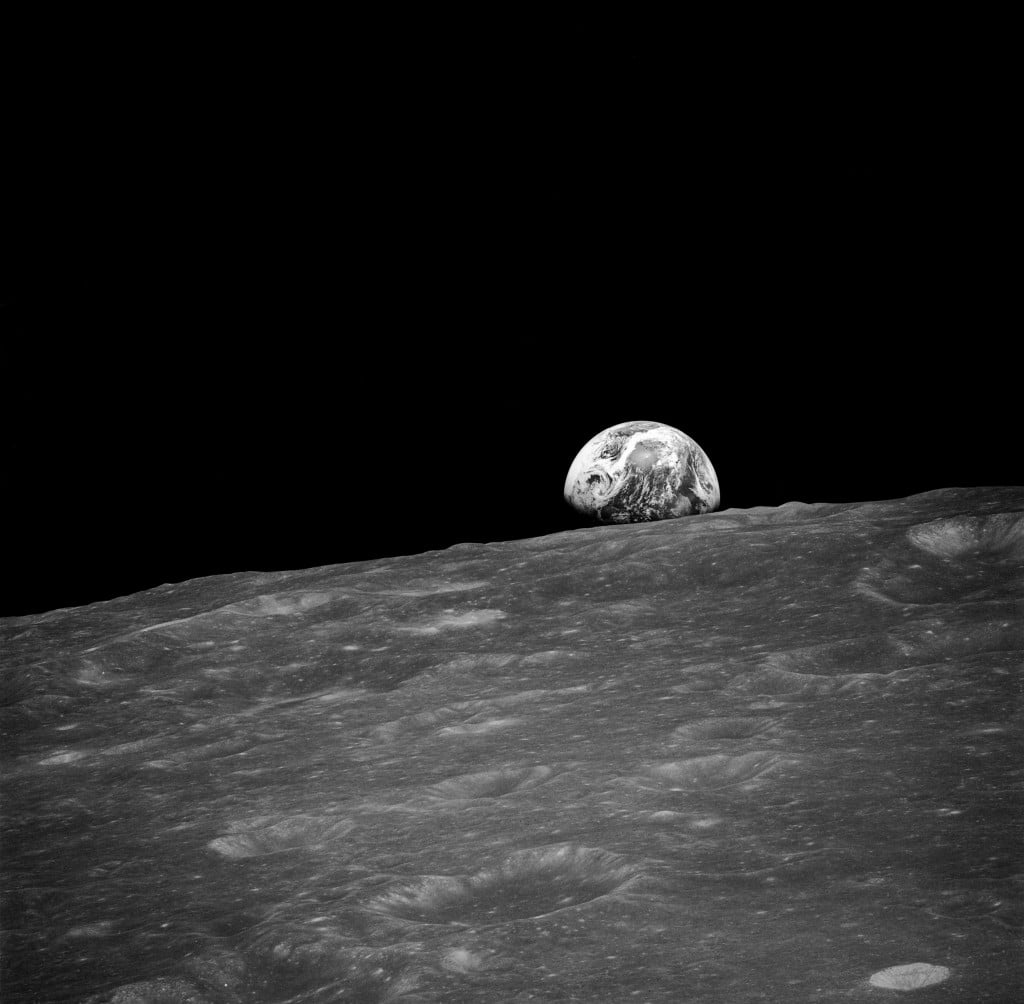 The first human-photographed image of an earthrise, from the Apollo 8 mission in December 1968.  Photo: Nasa Photo/Wikimedia Commons/Public Domain