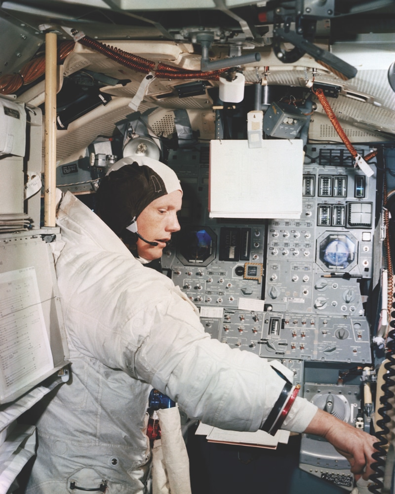 Apollo 11 commander Neil Armstrong training in the lunar module simulator, June 1969.  Photo: Nasa Photo