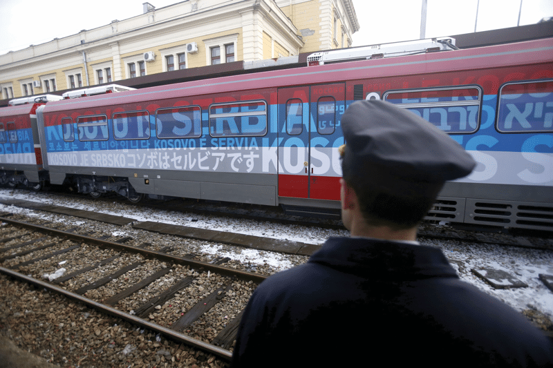 "The train emblazoned with the words ""Kosovo is Serbia"" departs Belgrade, 14th January 2017. Following reports of a planned ambush by ethnic Albanians, the train was halted before it entered Kosovo.  Photo: Darko Vojinovic / AP / PA Images"
