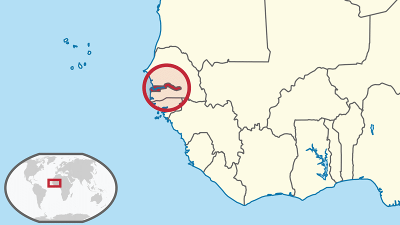 The Gambia, West Africa.  Image: Wikimedia Commons